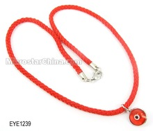 2014 high quantity Cheap red rope round charm evil eye necklace