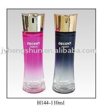 perfumes 110ml recipiente de vidrio con fina decoración cosméticos botella de spray con tapa de aluminio