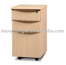 Stainless steel/wooden 3 drawer wheels office filing cabinet/wardrobe furniture