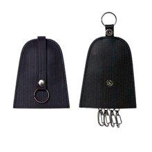 Black leather key holder