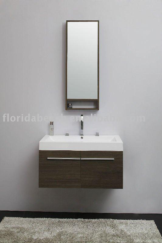 Estilo moderno pequeno MFC placa do banheiro armário espelhadoPenteadeiras p -> Banheiro Estilo Moderno