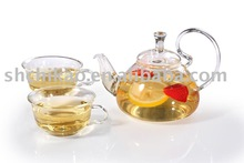 Heat Resistant Glass teapot set with two cups