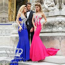 Fabulous Beaded Blue and Fushia Long Mermiad 2013 New Model Evening Dress with Long Trains