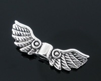 Silver Tone Angel Wing Style Charm Spacers Beads