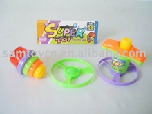 SPINNING TOP,SPINNING TOP WITH TWO FLYING SAUCER, PLASTIC TOP TOYS,PLASTIC TOYS,TOP TOY,PROMOTION TOY