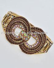 Antique Gold Tone Finish / Topaz Rhinestones / Fold-over Bracelet