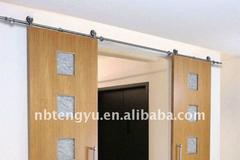 Moderne double coulissante en bois porte de grange portes for Porte de grange coulissante en bois