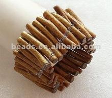 Natural Gold Coral Bracelet, stick shape beads, golden color, elastic,unisex, fashion bracele tfor great decorative effect, 46-3