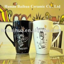 ceramic white black mug for lover