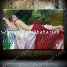 Handmade Nude Girl Painting Art by Pino