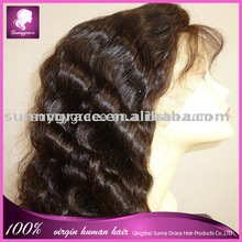 100% virgin Deep Wave Chinese human hair 20inch lace front wig