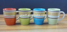 9oz handpainted ceramic mug, henan ceramic factory directly wholesale stoneware mugs