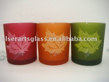 glass candle holder with maple leaf design color for autumn decoration