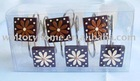 12pcs resin Shower Curtain Hooks with brown flower design, matching shower curtain and bath accessories
