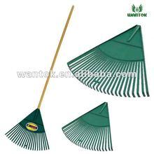 Plastic garden rake with wooden handle