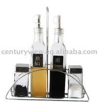 glass cruet bottle set