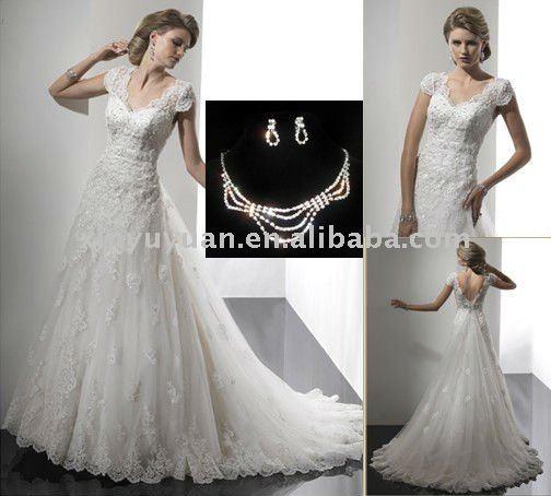 design ma 868 cap sleeve floor lengh open back lace wedding dress