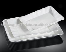 H6083 alta calidad de porcelana blanca cut edge rectángulo placa hornear