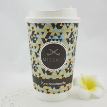 china wholesale 16oz 500ml disposable double wall paper cup for hot coffee with lids