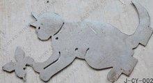 Garden metal laser carve cat decoration