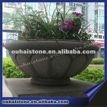European garden stone flowerpot craft