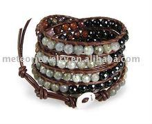 Stone Labradorite Mix Brown Leather Wrap Bracelet