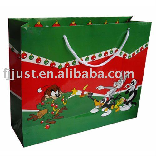 Christmas LED paper packaging gift bag
