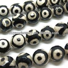 10mm Natural facet dzi beads (AB1368)