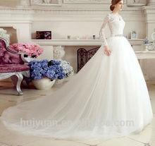 new designer white long sleeve lace v nck elegant muslim wedding gown