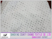 Spandex knitting cotton chemial embroidery fabric with eyelet