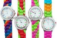 Rainbow New Face Silicone Rhinestone Watch