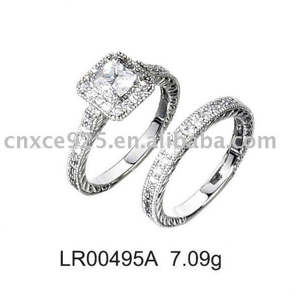 Mode bijoux effacer zircon deux - pièces ensemble de mariage anneau