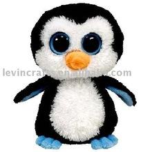 LE D138 Cute Standing Plush Penguin with Glass Eye, Stuffed Penguin