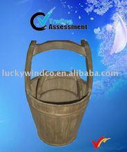 vintage wooden handle flower water bucket garden plant