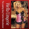 Wella lingerie puro desejo mulheres sexy charmeuse e laço preto boneca/sexy underwear