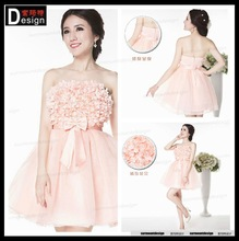 2015 Top Fashion Bridemaids Flowers With Butterfly Tie Belt Pink Chiffon Dress For Sale