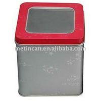 metal square tin jewelry box with transparent window