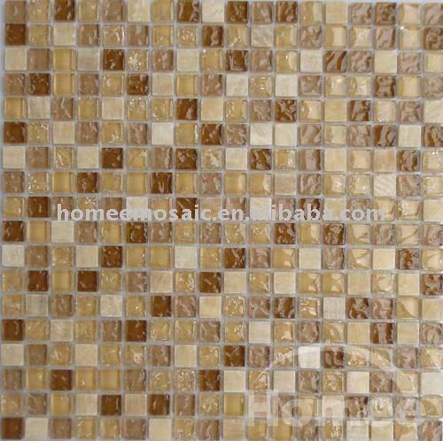 Azulejos Baño Tipo Mosaico:Cuarto de baño de Onyx piedra y cristal de Brown azulejos de mosaico