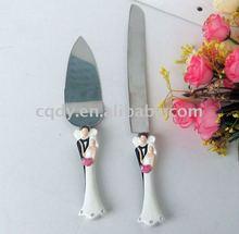 Creative design Bride and groom wedding cake and knife server/wedding cake server