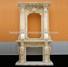 Beige Travertine Fireplace Suround