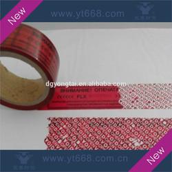 Red rolled tamper proof sticker label