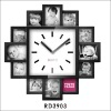15 inch 12pcs modern picture plastic Photo frame wall clock for decoration