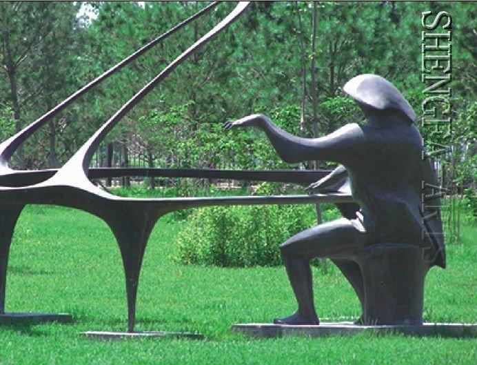 sculpture moderne en jardin de pianiste/bronze-Artisanat en métal-Id ...