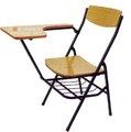 2014 popular y barato de madera plegable estudiante de la escuela de la escritura tableta silla de metal con la cesta