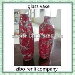 Red Golden Rose Large Crackle Glass Noble Vase Wedding Center Pieces