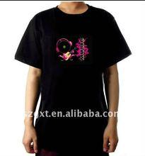OEM,CE &ROHS-EL wireless sound-active t-shirts