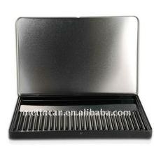 rectangular metal tin pencil case with hinged lid