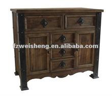 Antique 5 drawer 2 door Wooden Cabinet/Accent Storage Cabinet