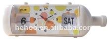 Modern flip calendar day date alarm clock