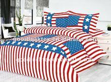 100% polyester brushed microfiber fabric flag design maked bed sheet